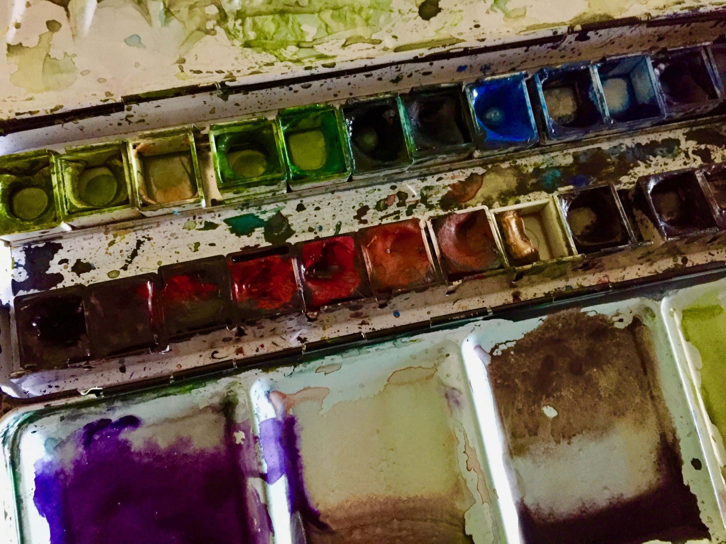 MY PAINTS - I prefer  a traditional color palette, as used by early Impressionist painters.  I use the Sennelier Watercolors line and Winsor Newton Gouche.  All these paints  are lightfast and have a high honey content, giving a smooth consistency and extraordinary luminosity.