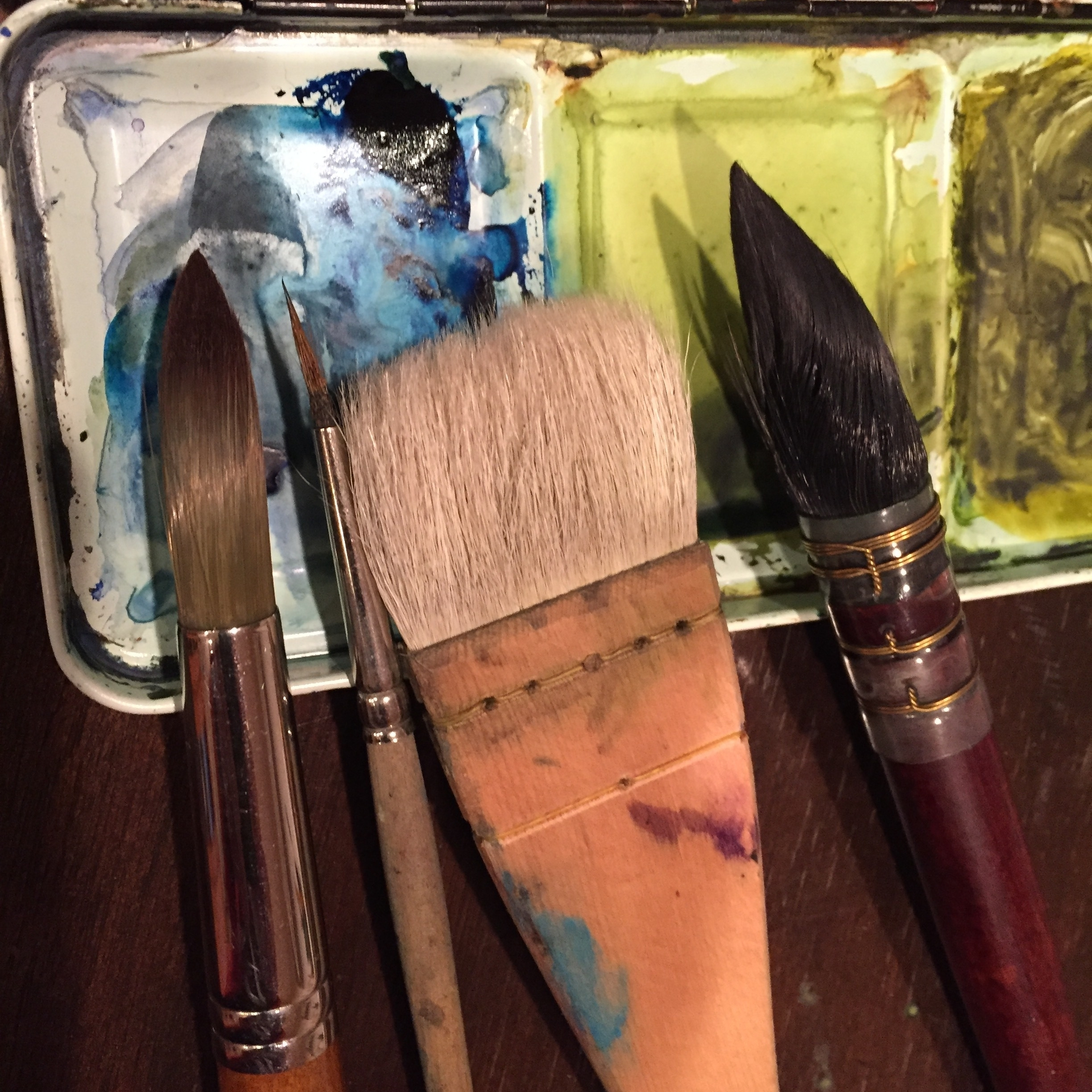MY BRUSHES  -  - I started with many brushes, but now find I use only 4 most of the time.  My brushes are synthetic, but soft and hold the pigment like real sable. The wide Japanese hake brush is one of my favorites.