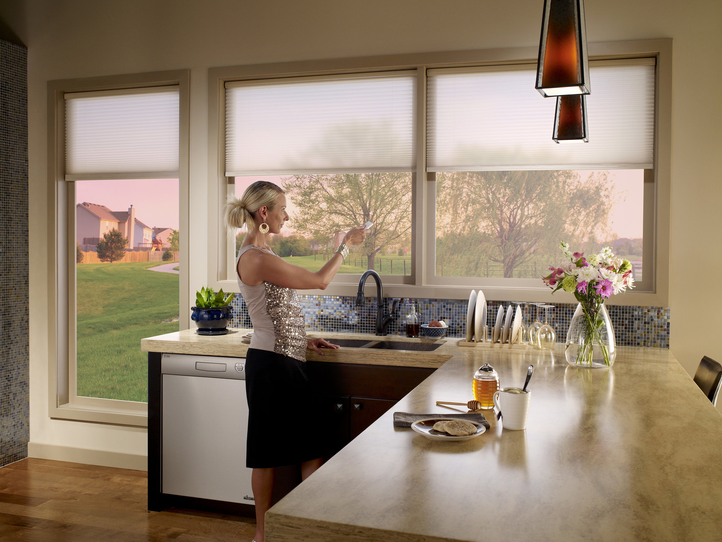 Motorized Shades    Motorized shades add comfort and convenience. Imagine having your shades automatically come down when the evening sun starts to heat up your room. Motorized shades also add privacy and security to your smart home.