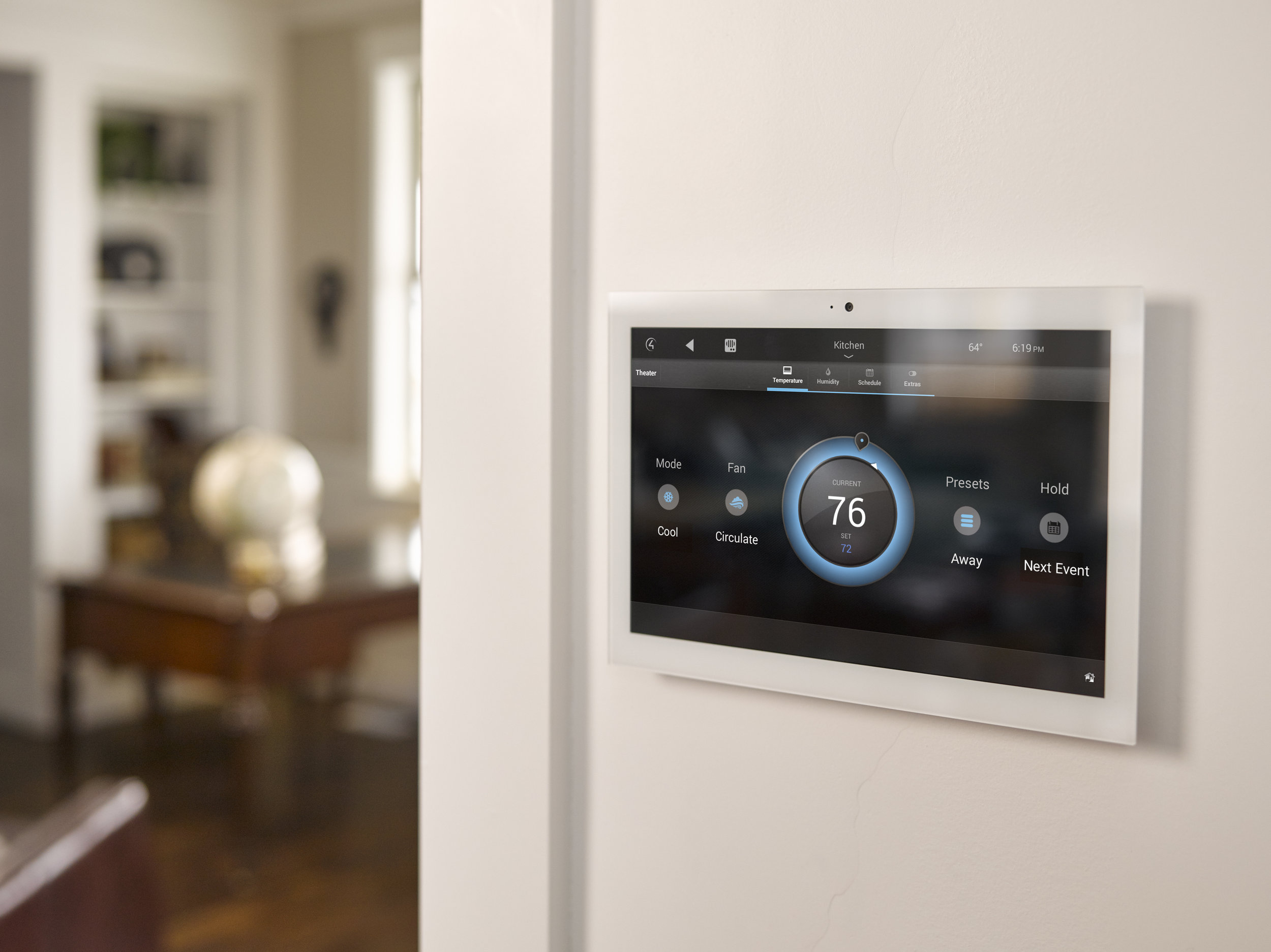 Touchscreens - Touchscreens are very useful in main locations of the home like the kitchen or master bedroom. Touchscreens provide a dedicated way of controlling your entire system without searching for your phone or remote. Touchscreens can also offer additional features like intercom between rooms.