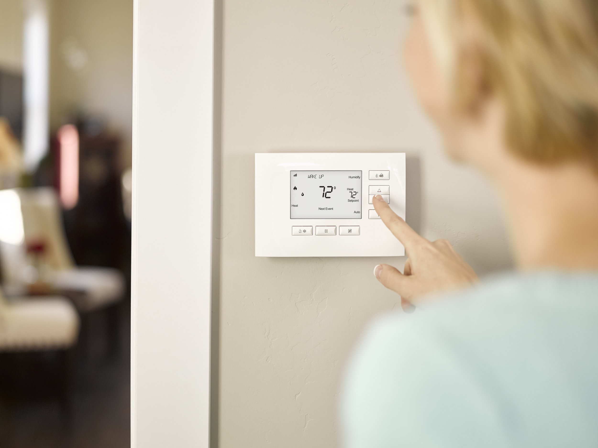 Control4 Thermostat - The Contrl4 thermostat is built by HVAC industry leader Aprilairre. The thermostat can handle simple to complex HVAC systems and can even run on battery power for older two wire systems.