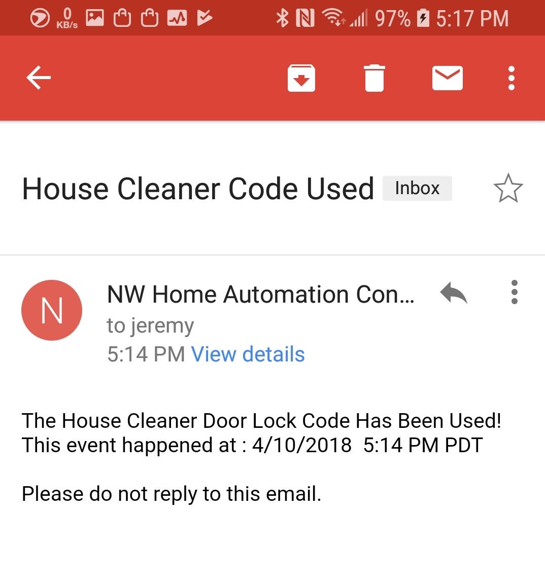 Email Alerts - Get notifications from your system for all the events you need to know about. Get an alert every time your house cleaner code or contractor code is used.  Find out when your door lock batteries are getting low. We can tailor alerts to your unique needs.