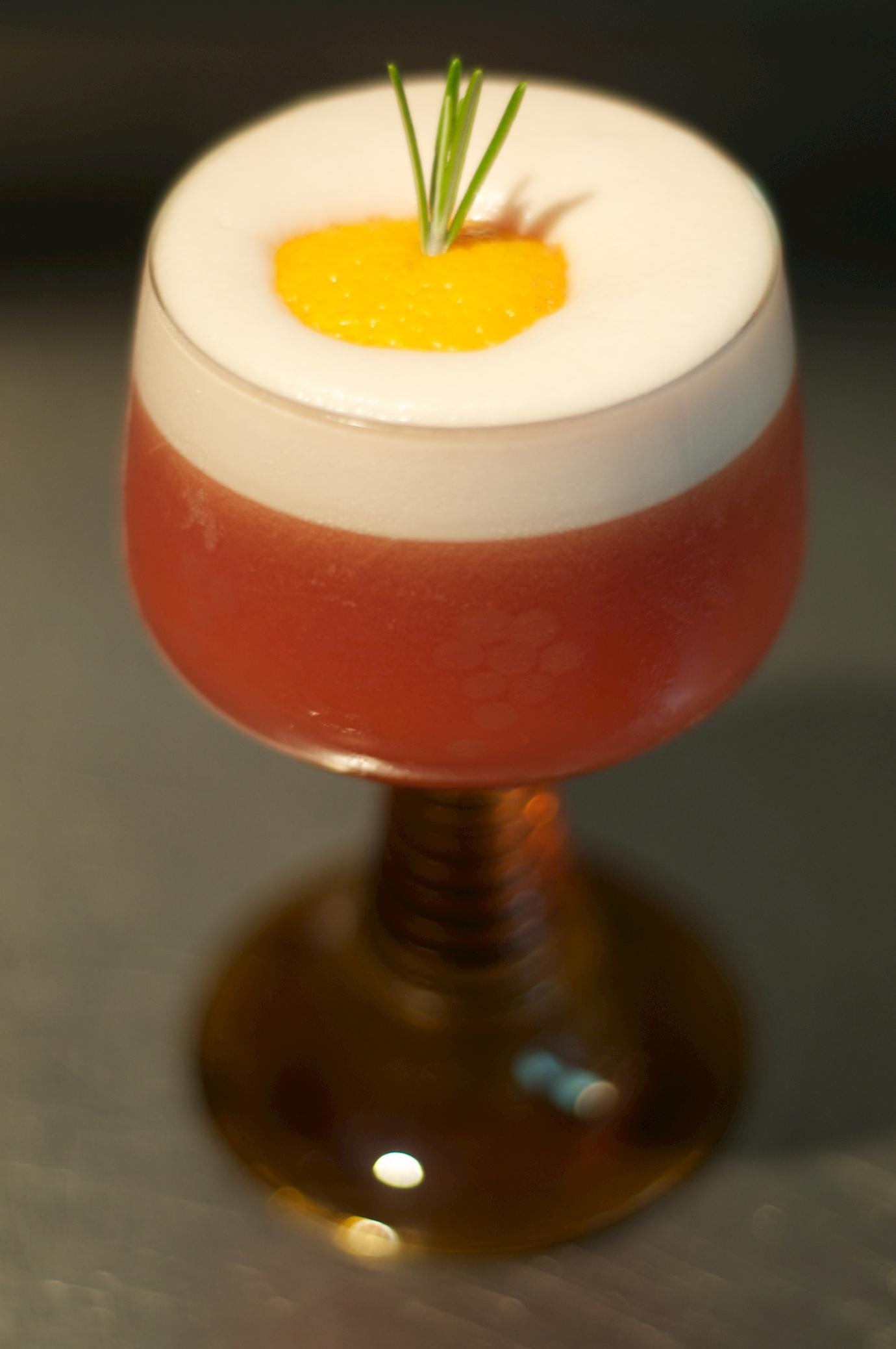 Bloody Ruby - 30ml gin10ml vermouth5ml Campari30ml blood orange20ml lemon juice5ml rosemary syrup20ml egg whiteShake over ice and pour