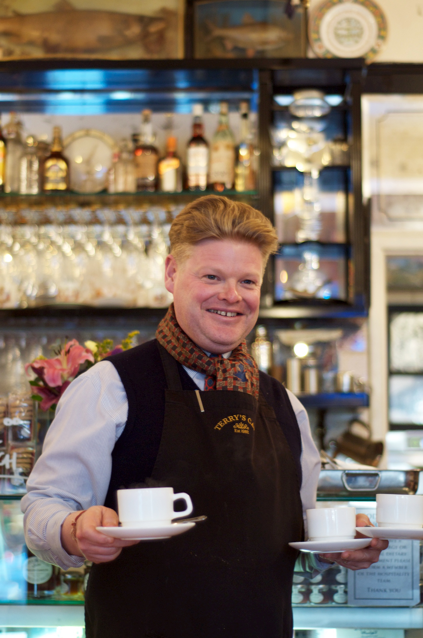 A cup of tea or three, served by the very dapper Austin, named in honour of Austin's of Peckham antique shop, which thereafter gave his canny father a discount.