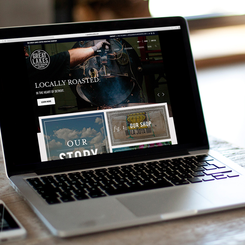 THE GREAT LAKES COFFEE ROASTING CO. website - branding