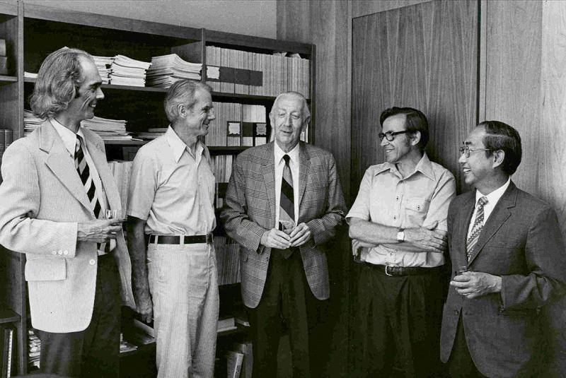 David Wyatt, Frank Golay, John Echols, George Kahin, and Giok-po Oey (curator) celebrate the newly named John M. Echols Collection, 1977.