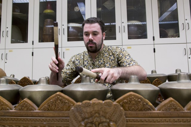 Tyler Yamin performing gamelan at UCLA.