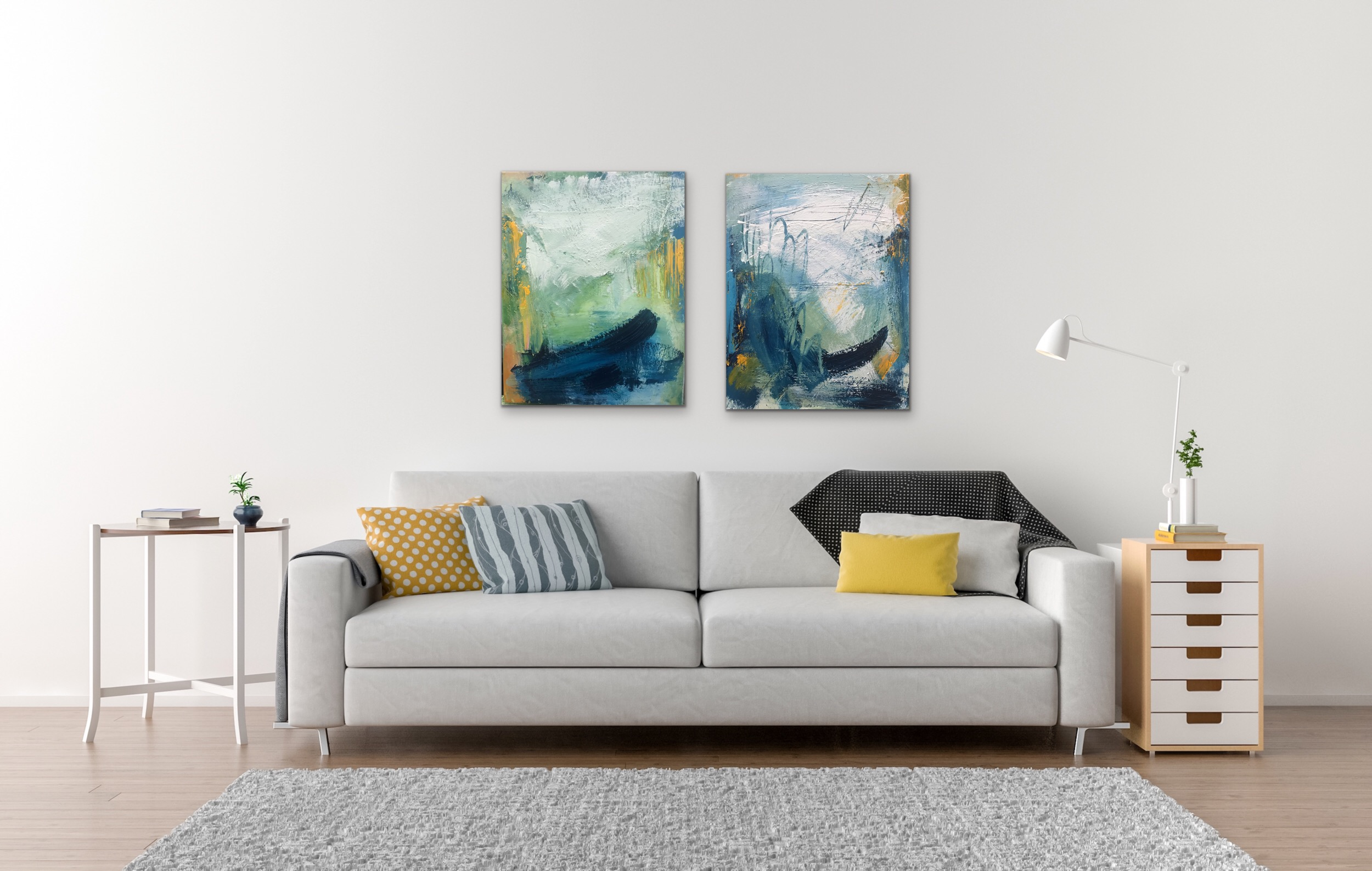 Diptych - Acrylic and mixed media paintings make a great pairing over a sofa or bed. Style your home with abstract art to make a bold statement.
