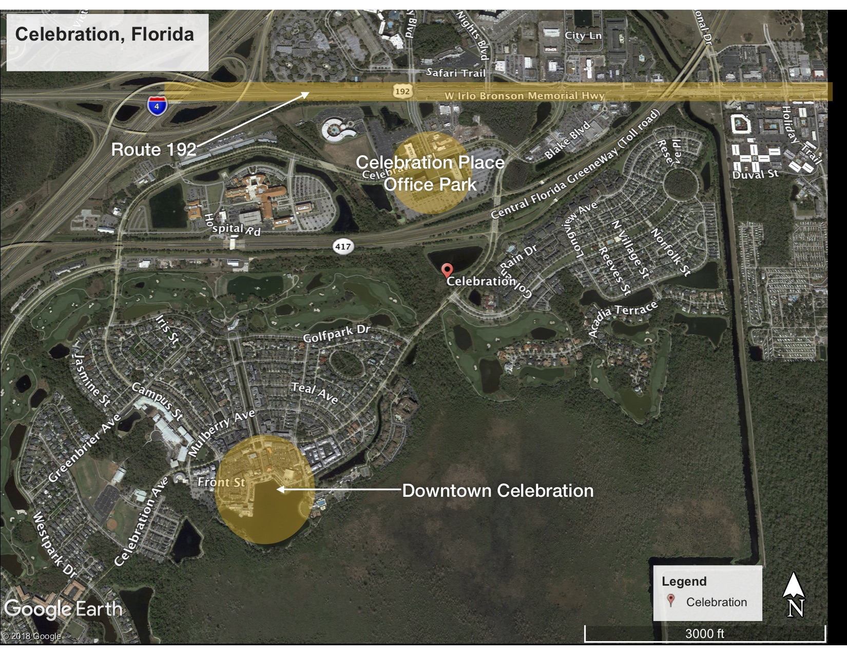 Downtown Celebration and its relationship to Route 192 and Celebration Place Office Park