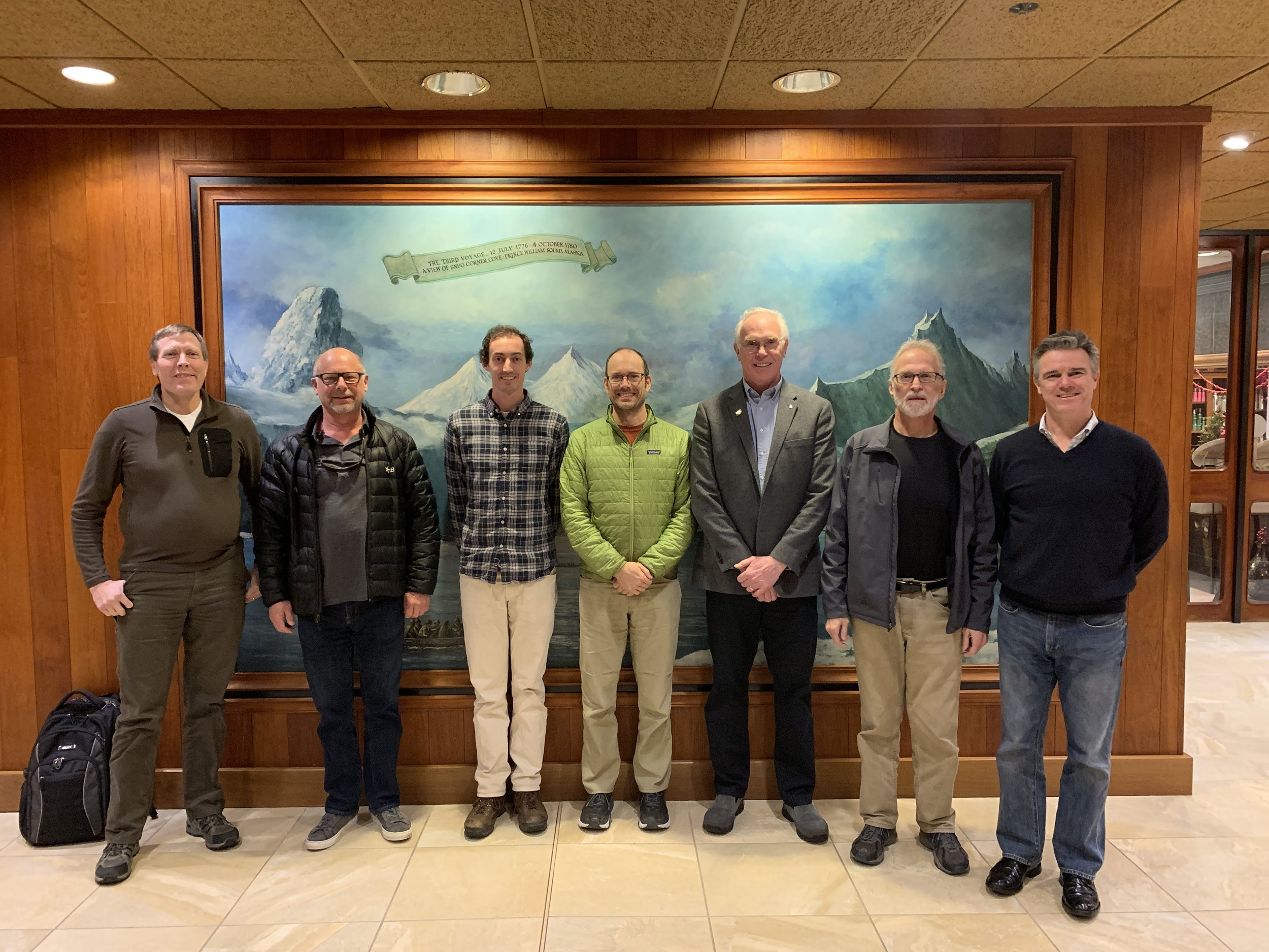 The PCCRC Board (from L to R): Dr. Keith Criddle/CFOS, Karl Bratvold/Aleutian Spray Fisheries, Austin Estabrooks/At-Sea Processors Assn (non-board member), Dr. Ben Williams/ADF&G, Dr. Larry Hinzman/UAF, Jan Jacobs/American Seafoods Group, and Dr. Brad Moran/CFOS (Not present Stephanie Madsen/At-Sea Processors Assn.)