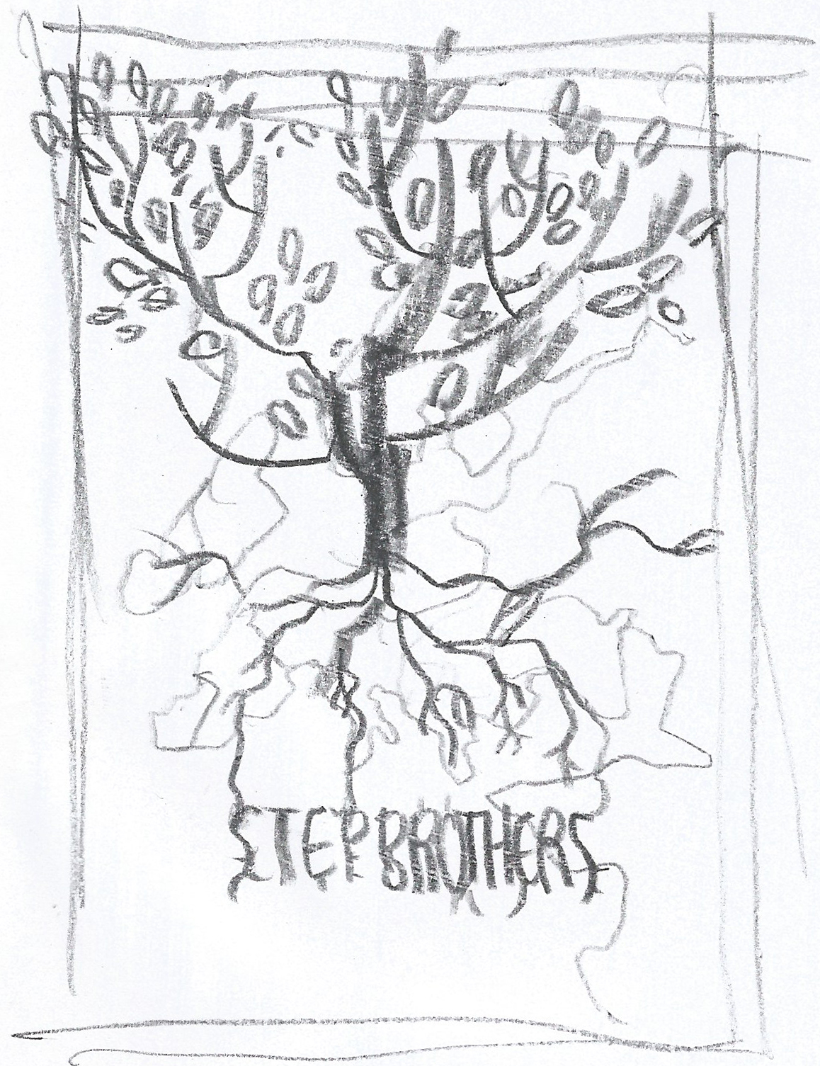 initial rough concept for pitch cover (right). The different origins of the siblings united by an absent, nomadic father grounded the idea of using a stylized genealogical tree to introduce the protagonists.