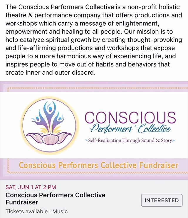 Come on out to support the emergence of a really great and vital new organization for this really wonderful event!  It's an all day event jam packed with beautiful offerings a delicious dinner, sound bath and featuring the Philly debut of a live performance from Satsang!  In a time where so many of us experience anxiety and depression, Conscious Performers Collective seeks to help people connect to the deeper peaceful dimension within themselves, and to help them discover their individual gifts and purpose. Our ultimate goal with our productions and outreach work is to co-create a world that we all want to live in – one that is filled with compassion, wisdom, unity, and Earth stewardship.  The Conscious Performers Collective is a non-profit holistic theatre & performance company that offers productions and workshops which carry a message of enlightenment, empowerment and healing to all people. Our mission is to help catalyze spiritual growth by creating thought-provoking and life-affirming productions and workshops that expose people to a more harmonious way of experiencing life, and inspires people to move out of habits and behaviors that create inner and outer discord.