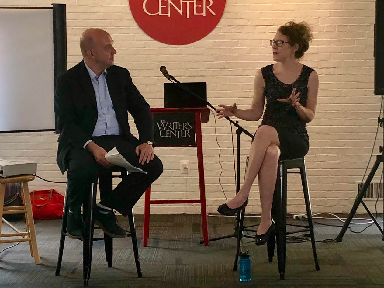 Ed Spitzberg interviews arts journalist Rebecca Ritzel at media relations bootcamp for the Arts and Humanities Council of Montgomery County.