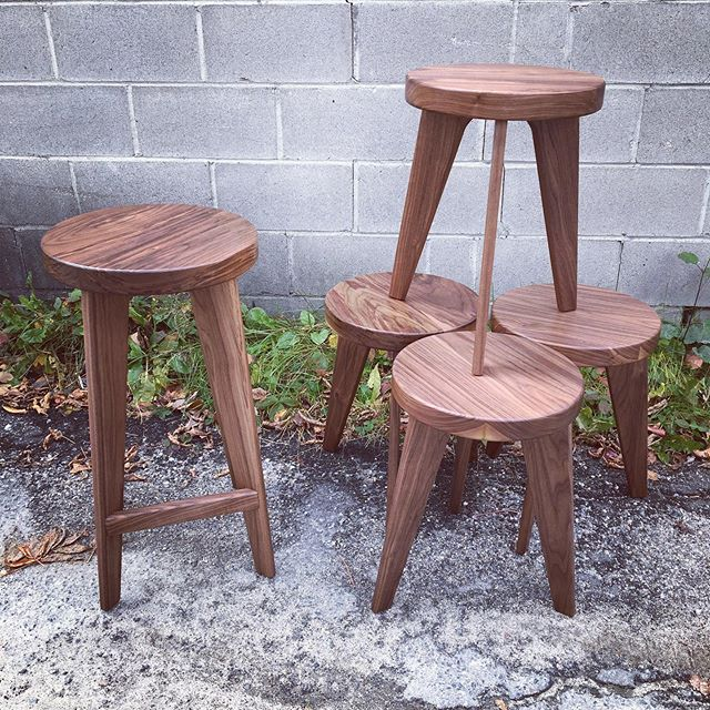 Some Modern Milkman and a Barman stool heading off to @merchantofyork in Toronto. Solid walnut CNC cut stools to compliment your modern style. More available online, can be shipped within North America.