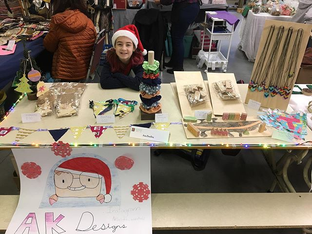 Pretty proud of my sidekick. This is her second craft show, she sewed bunting and scrunchies, made necklaces, and programmed the CNC to make ornaments and toy villages. A lot of hard work over the last few weeks!