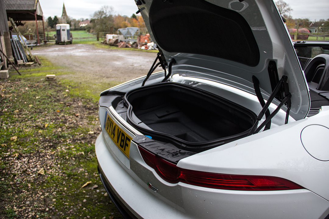 Jaguar filled the boot space with several wheelbarrows of V8 noise. Which doesn't leave space for much else.