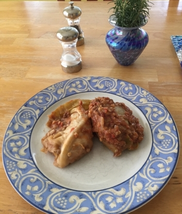 Stuffed cabbage for dinner -- yum!