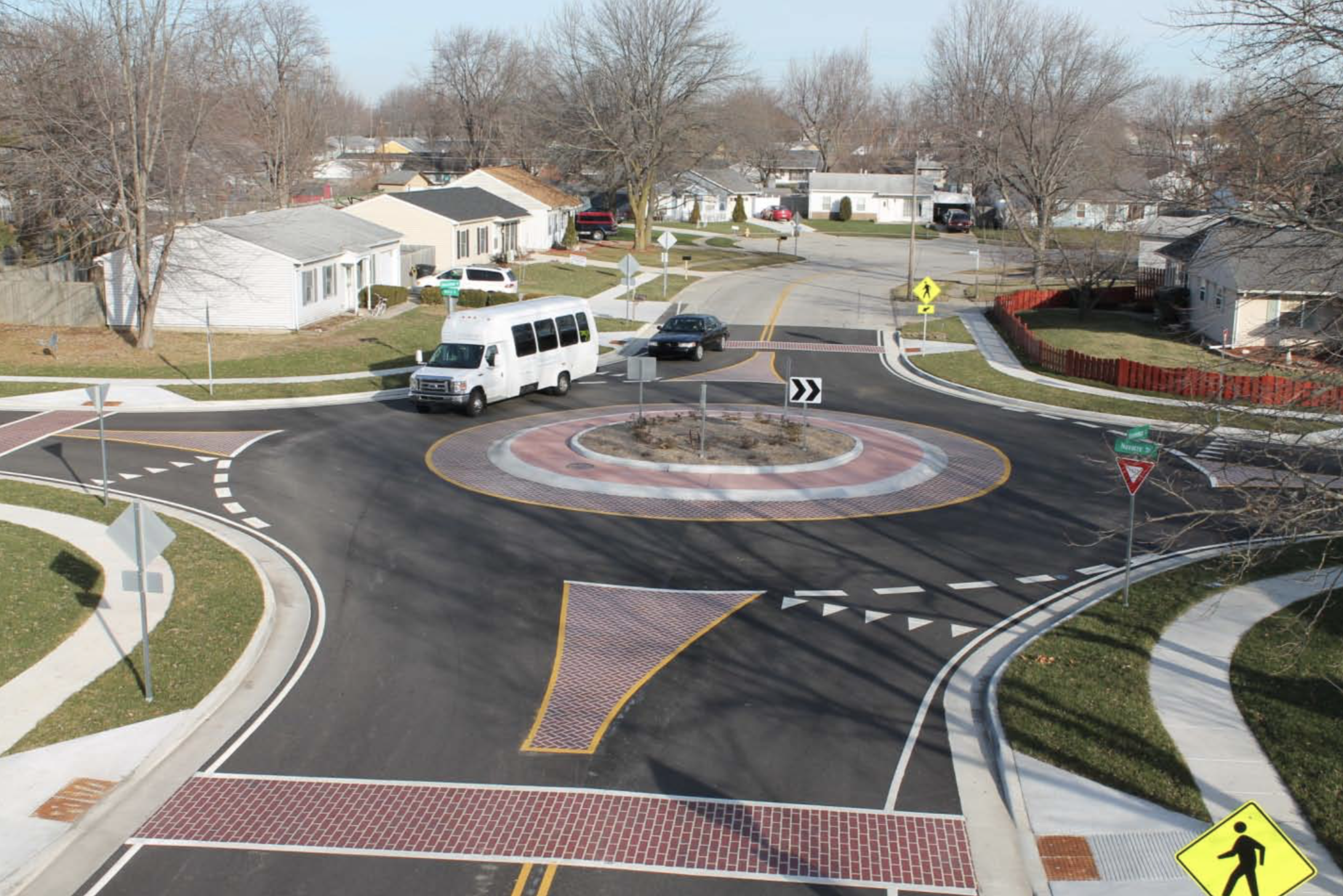 Shenandoah Roundabout won an Indiana Quality Partnership Award  Lafayette, IN  HSS did the pavement markings including the Brick effect (It was preformed thermoplastic marking). HSS also made and installed the permanent signage and did the temporary traffic control during construction.