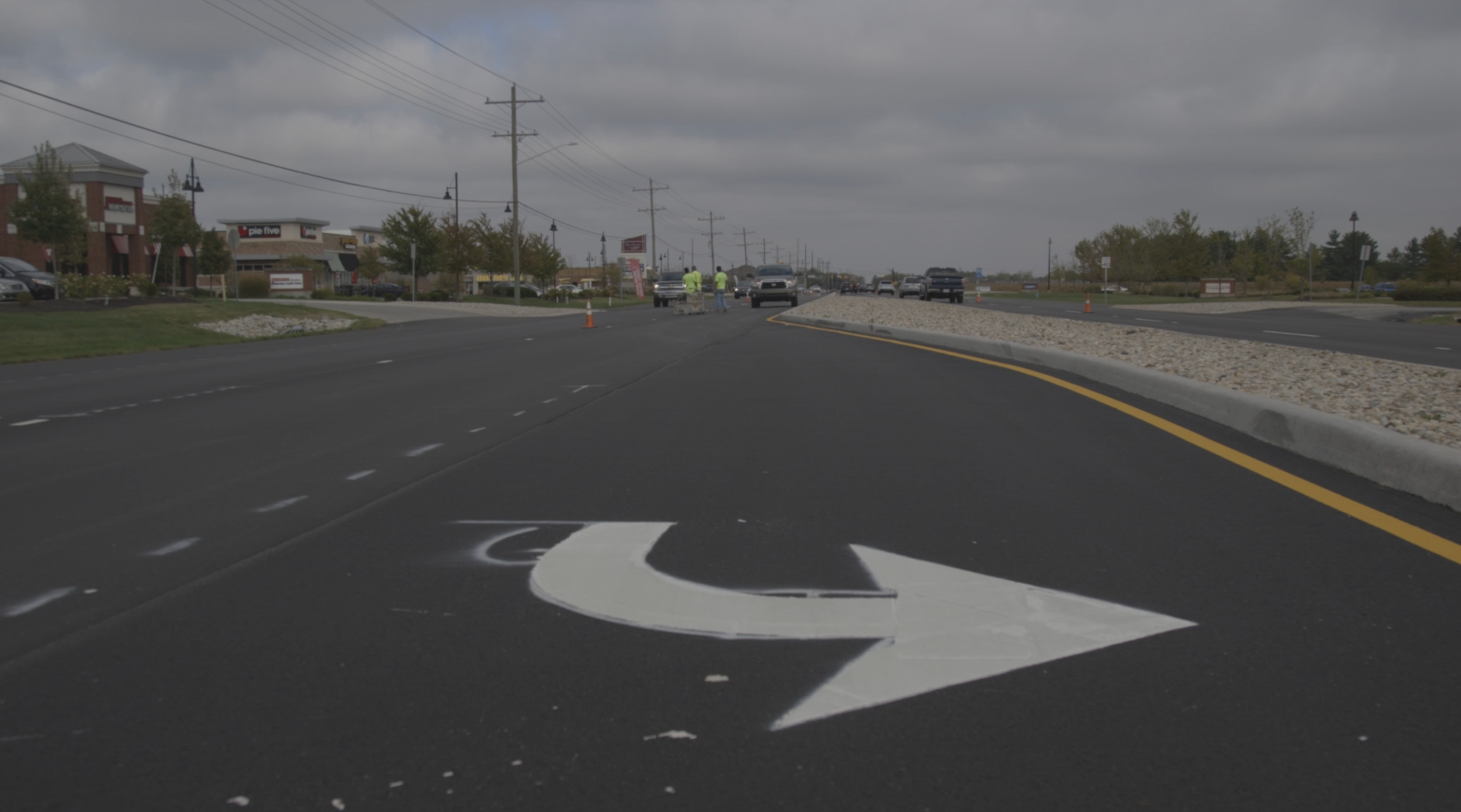 Whitestown parkway thermoplastic markings