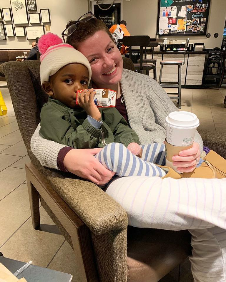 Mary and Bash (and Mark behind the lens) at her second home, Starbucks at Fort Belvoir, VA on October 27th, after Mary got the call!