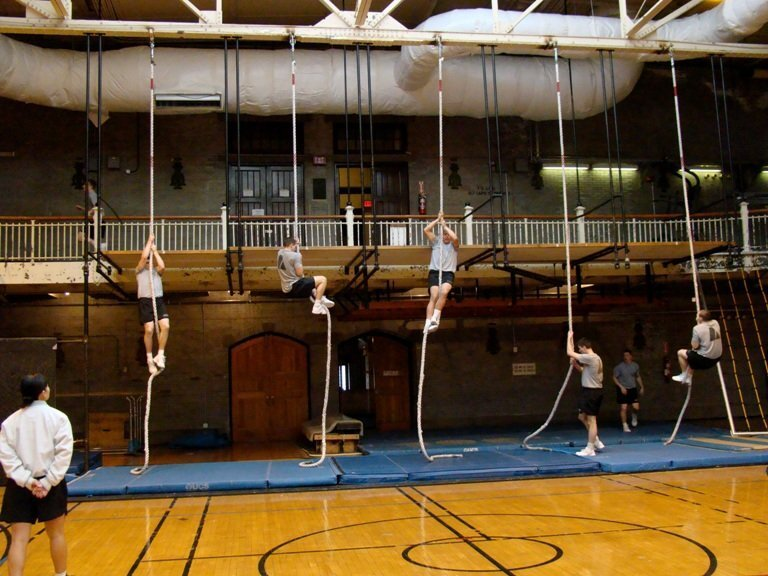There it is. The scene of the crime. A cadets' version of a torture device. The rope climbing portion of the IOCT.