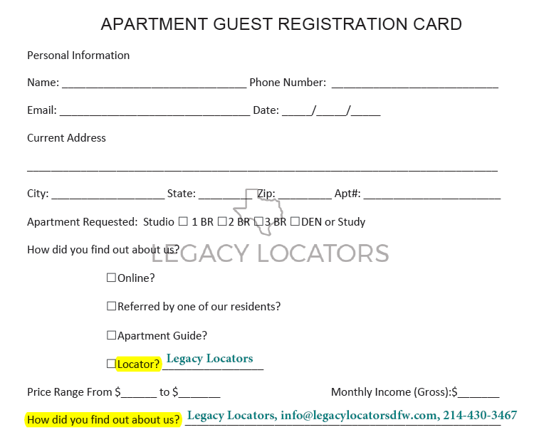 Example Guest Registration Card - Make sure to list Legacy Locators as your referral source!