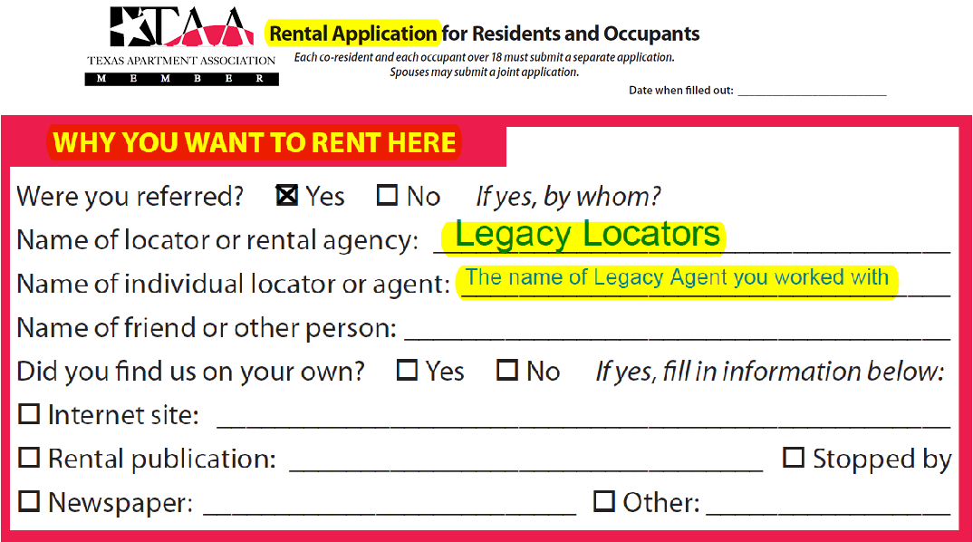 Rental Application - Make sure to list Legacy Locators on your Rental Application as well!