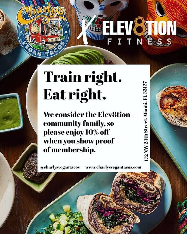 Let's go!!! Our friends at @charlysvegantacos would like to offer @elev8tionfitness members a discount in their meals! 🌮🌮🌮 . Bring your key tag or show your member app barcode for discount! From Tulum to Miami! Boom 💥 . #aedistrictmiami #wynwood #brickell #southbeach #miamibeach #downtownmiami #fitnessandhealth #fitness #muscleandfitness #motivation #inspiration #goals #success #miami #nike #adidas #bodybuilding #classicphysique #getshitdone #powerlifting #boxing #classicphysique #life #quotes #elev8tionfitness #HIIT #vegan