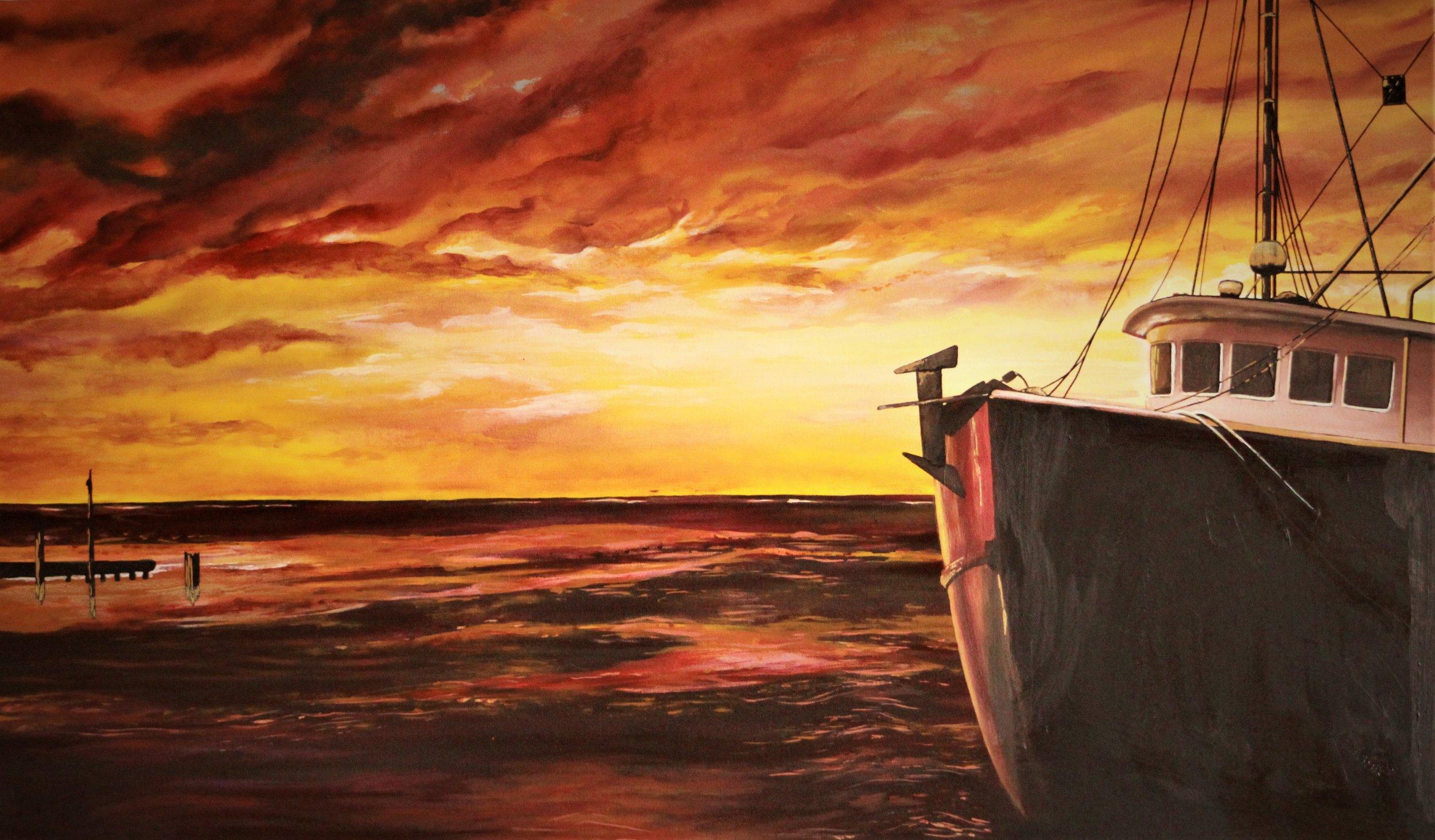 Louisiana Water    Oil Paint on Canvas    Custom Piece    40 in x 75 in