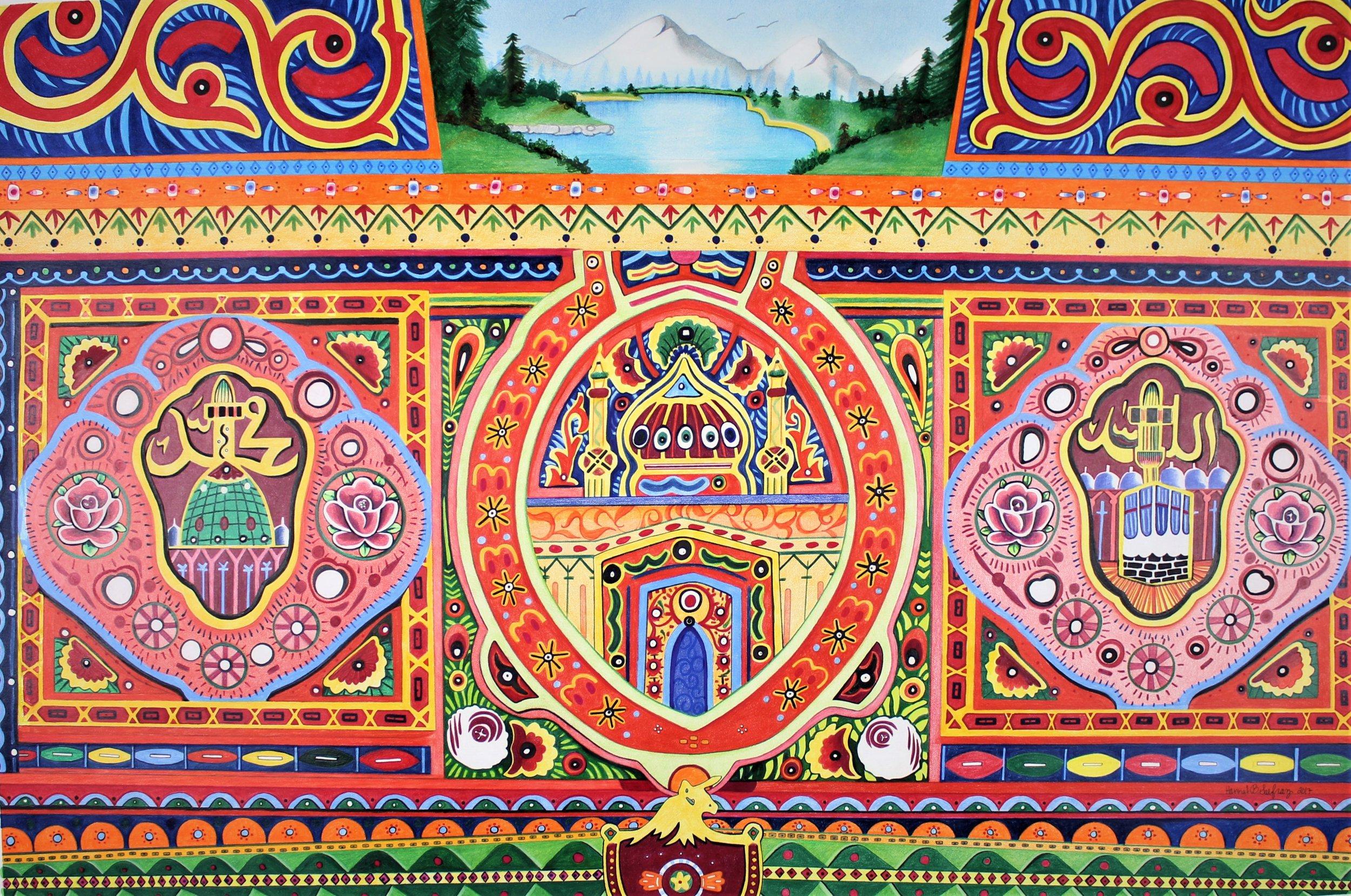 Pakistani Truck Art    Colored Pencil on Paper    Custom Piece    24 in x 36 in