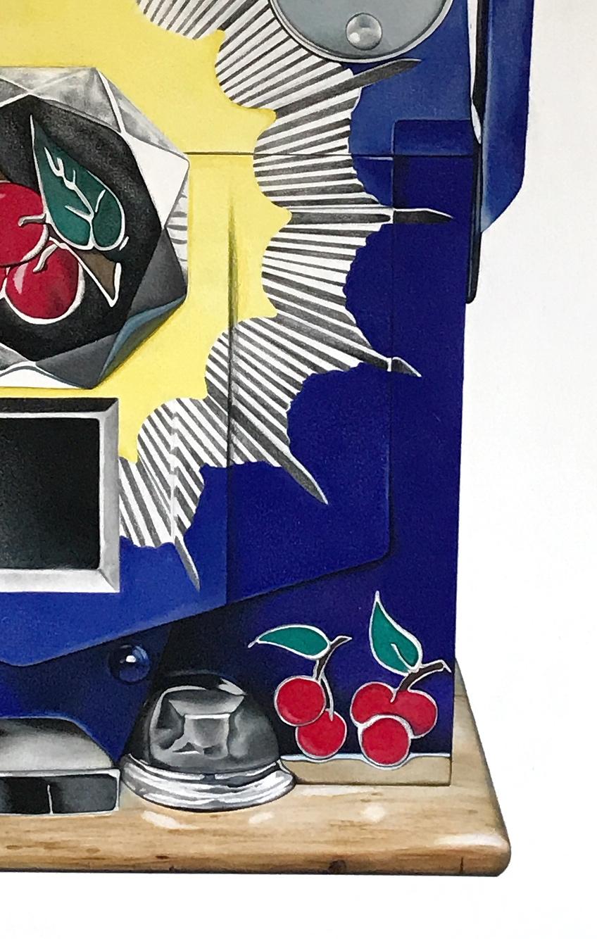 "1920's Slot Machine ""Bursting Cherry""  Colored Pencil on Paper  Custom Piece  30 x 44 inches"