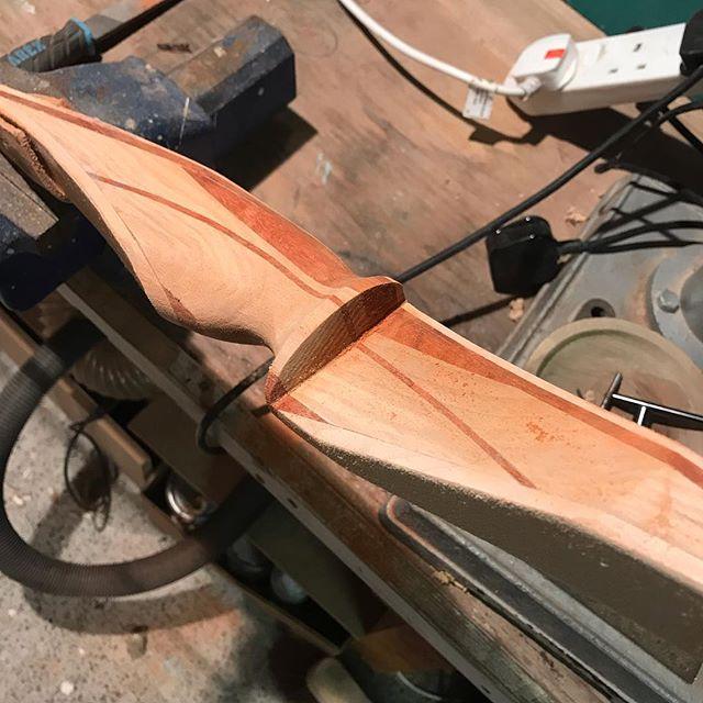 And a nice close up...padauk, hickory and maple.  #bows #archery #handmade #craft #bowcraft #bowmaking