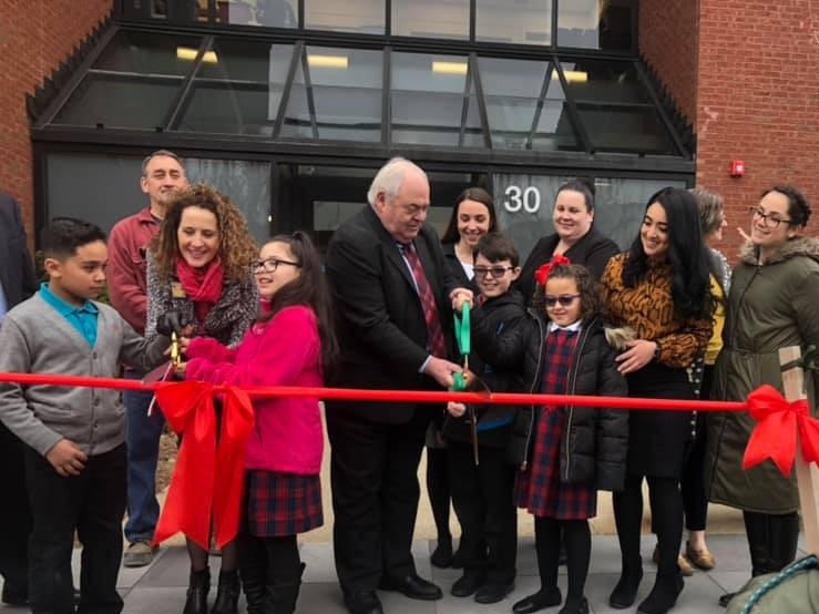 RISE Prep Ribbon Cutting Ceremony - From left: Board members Christopher Beauchamp, Mayor Lisa Baldelli-Hunt, and John Gregory join RISE Prep scholars and leaders in celebrating our new home.