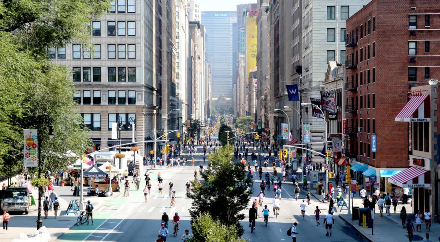 New York's streets opened up to people to walk and bike during Summer Streets. Picture: New York City Department of Transportation