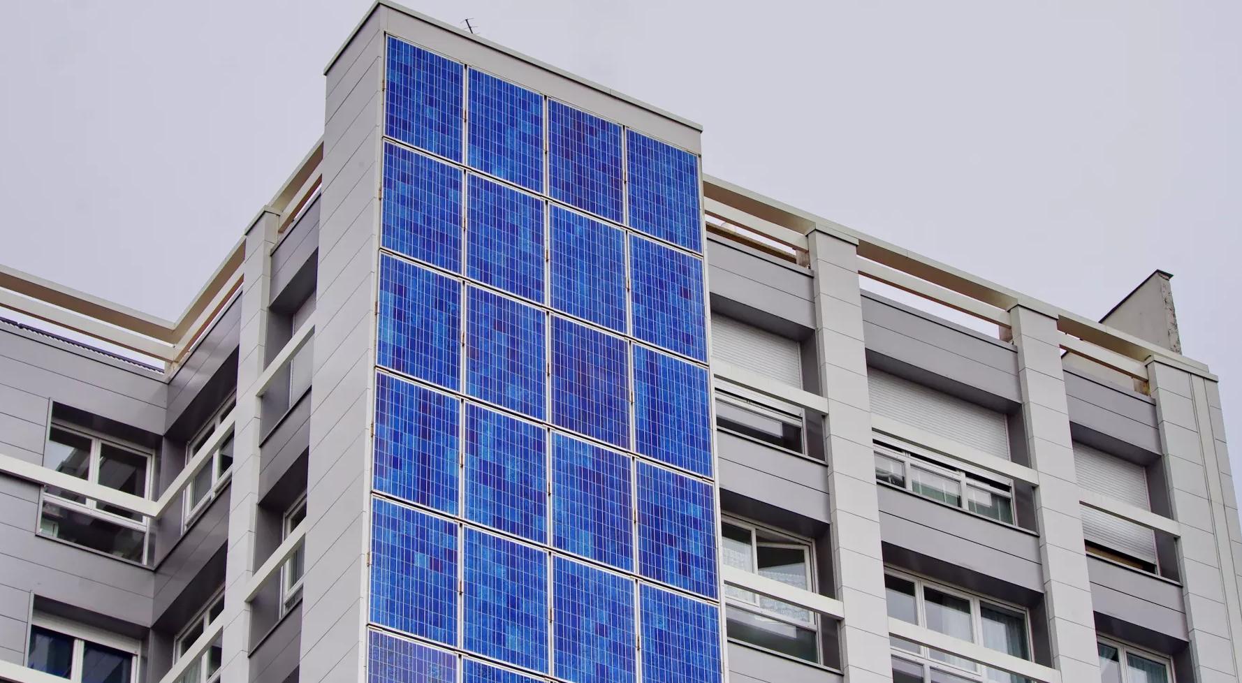 A photovoltaic facade on a building in Rue des Pyrénées, Paris. Picture: Pascal Poggi