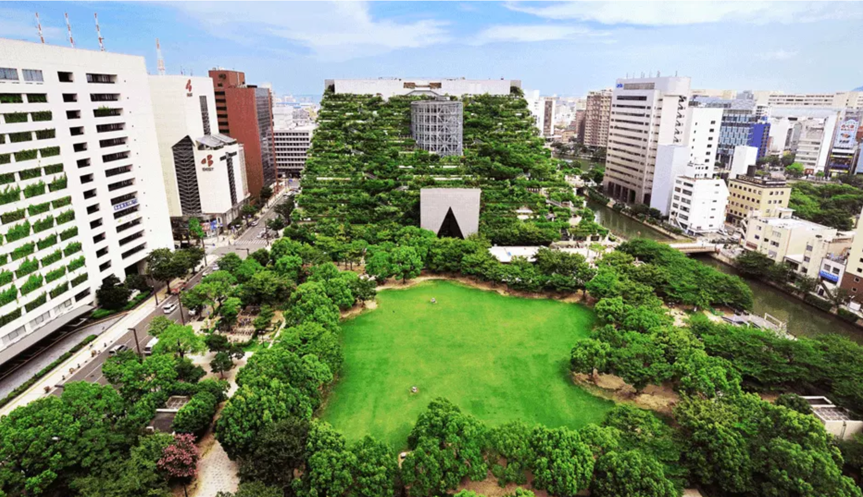 The Acros building in Fukuoka city, Japan, which has 15 stepped terraces and green spaces. Picture: City of Fukuoka