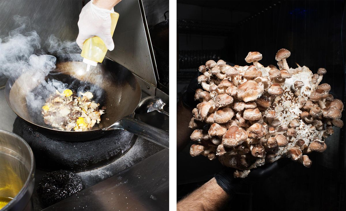 Smallhold-grown mushrooms in a fried rice dish at Mission Chinese. (Photographer: Adrienne Grunwald for Bloomberg)