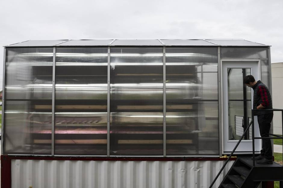 The ground floor of Ripple Farms is filled with a large fish tank, along with a system of pumps and filters that provide nutrient-rich water to the greenhouse set atop the shipping container.