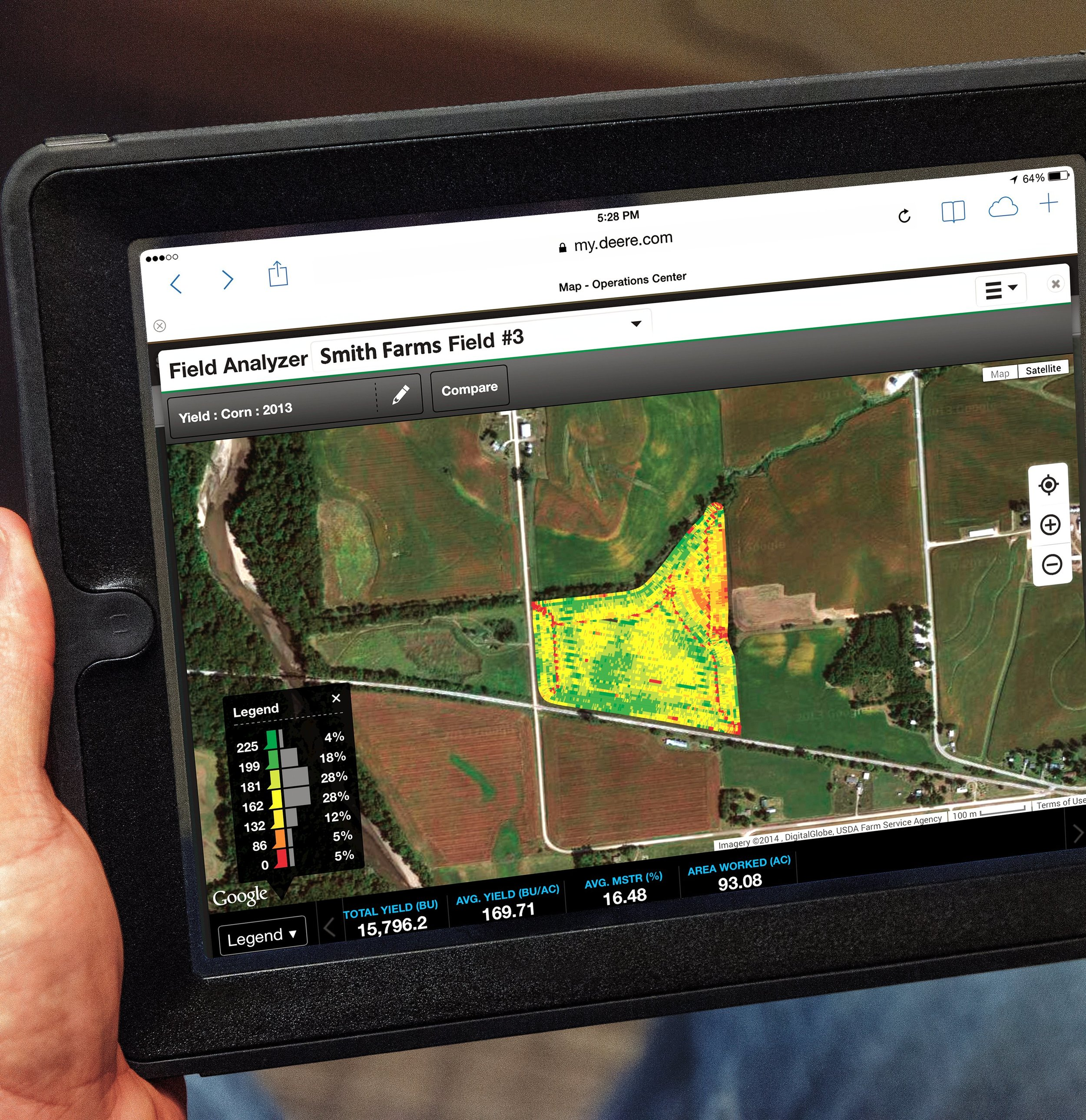 John Deere and NASA technology allows farmers to digitally track multiple variables over time on their fields.