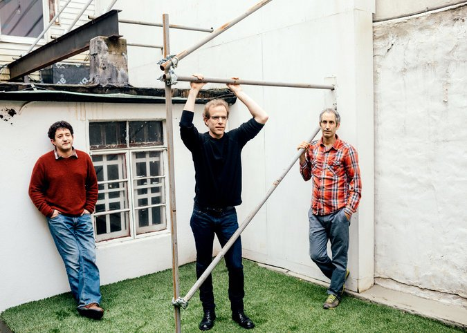 Row 7's founders: From left, the plant breeder Michael Mazourek, the chef Dan Barber and the seedsman Matthew Goldfarb, in Greenwich Village. (Credit: Andrew White for The New York Times)