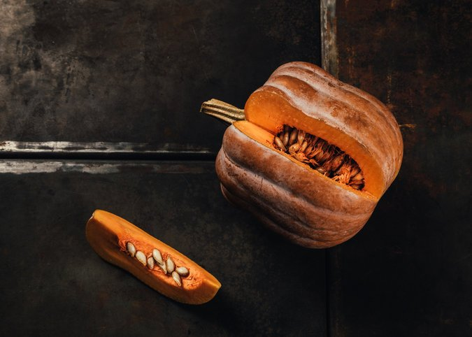 Mr. Mazourek developed the Robin's Koginut Squash, a cross between two squash varieties that changes color on the vine when it's ripe. (Credit: Andrew White for The New York Times)