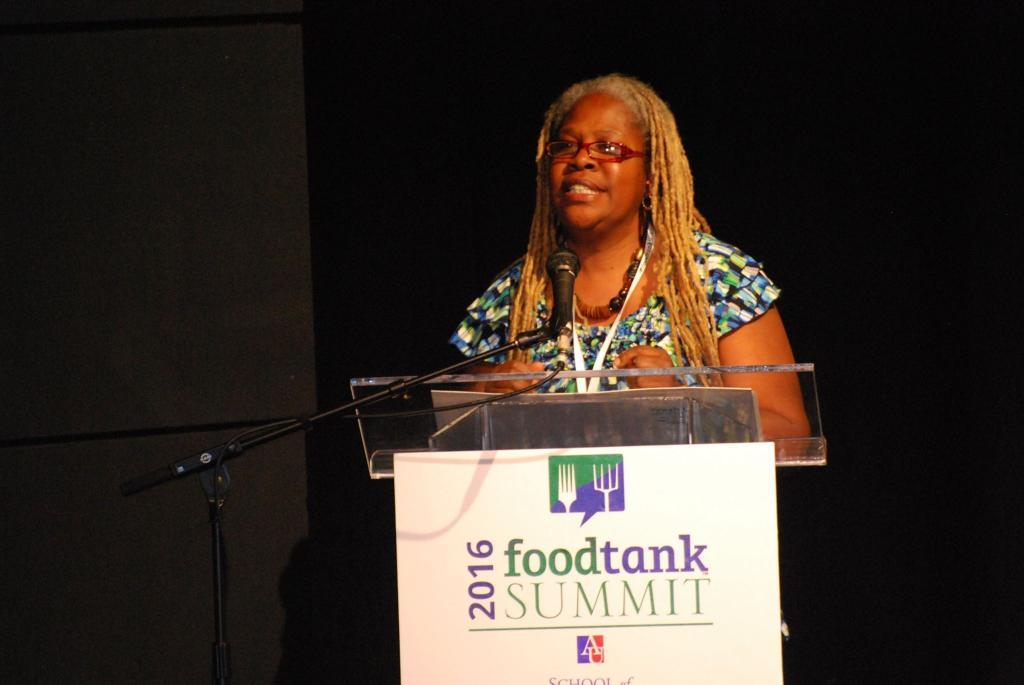 Karen Washington delivers opening remarks at the 2016 Food Tank Summit, in Washington,D.C.