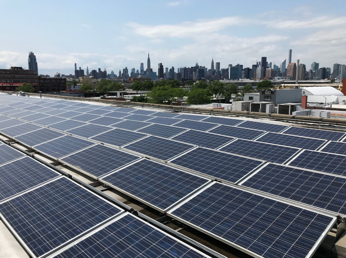 The roof of a Greenpoint building where a Gothams Greens farm is located.