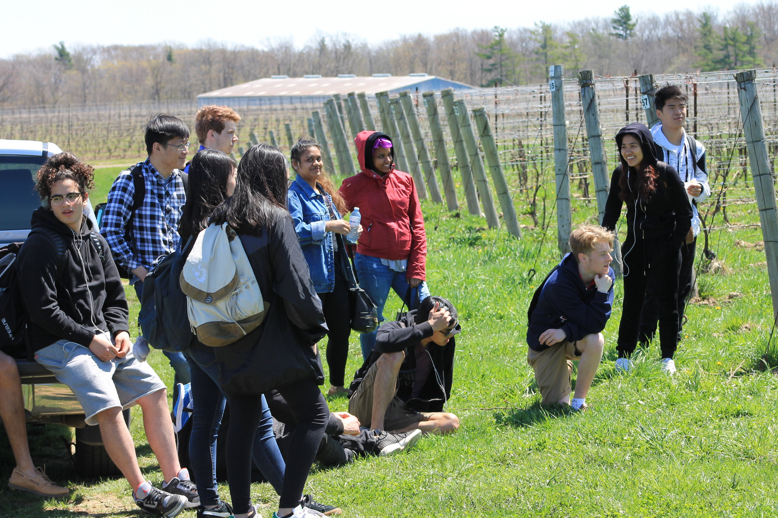 Students on a class trip to Tawse Winery, where they learn about viticulture (the practice and study of grape cultivation).