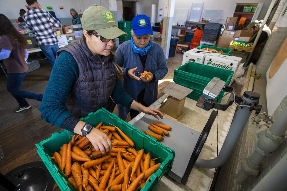 Daniela Marzuca, left, and Dalia Rosas of Whitemars Farm in Dracut weigh 1 lb bags of carrots at the New Entry Sustainable Farming Project in Lowell. (Jesse Costa/WBUR)