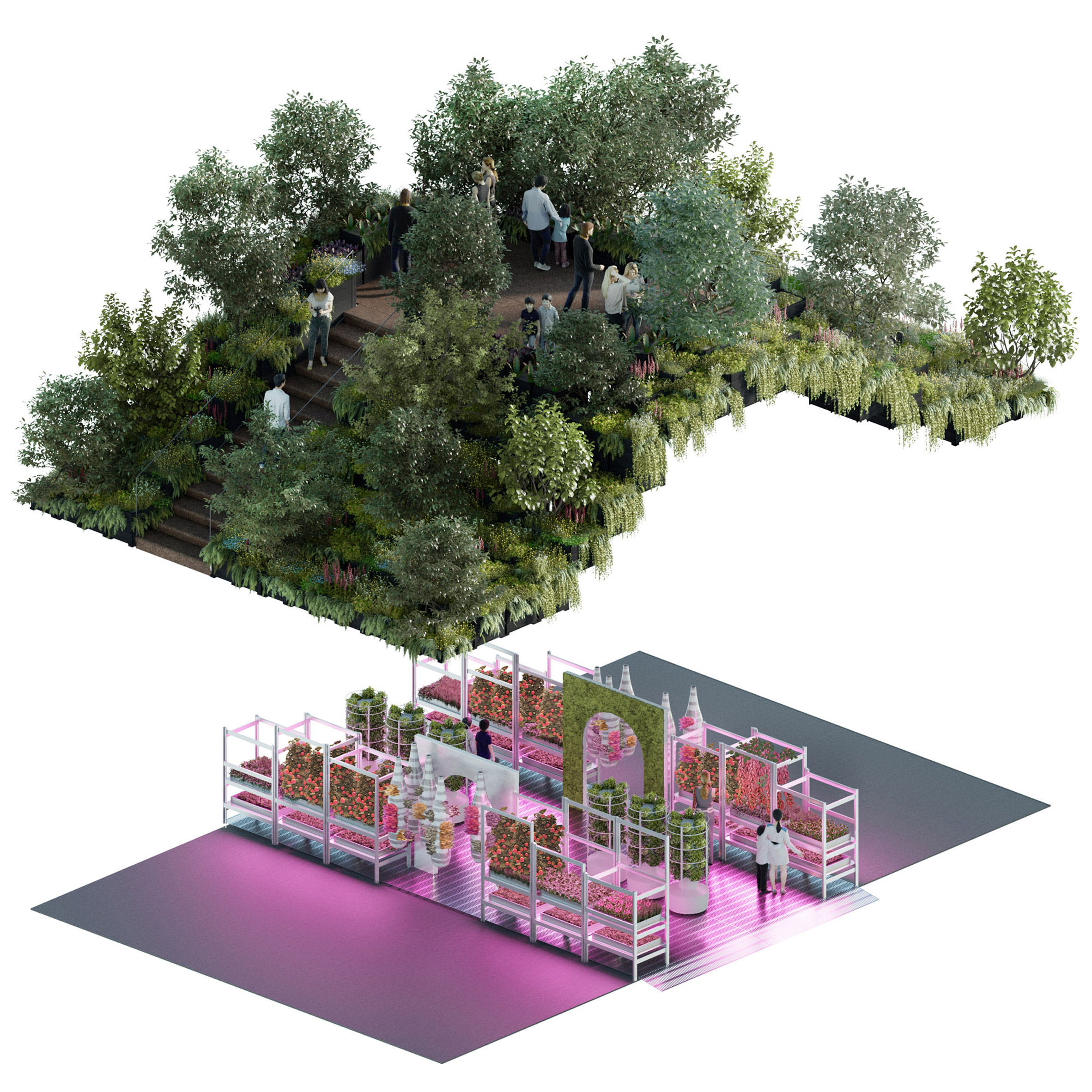 Renders of the two planned levels at the Tom Dixon and IKEA RHS Chelsea Flower Show installation in May 2019