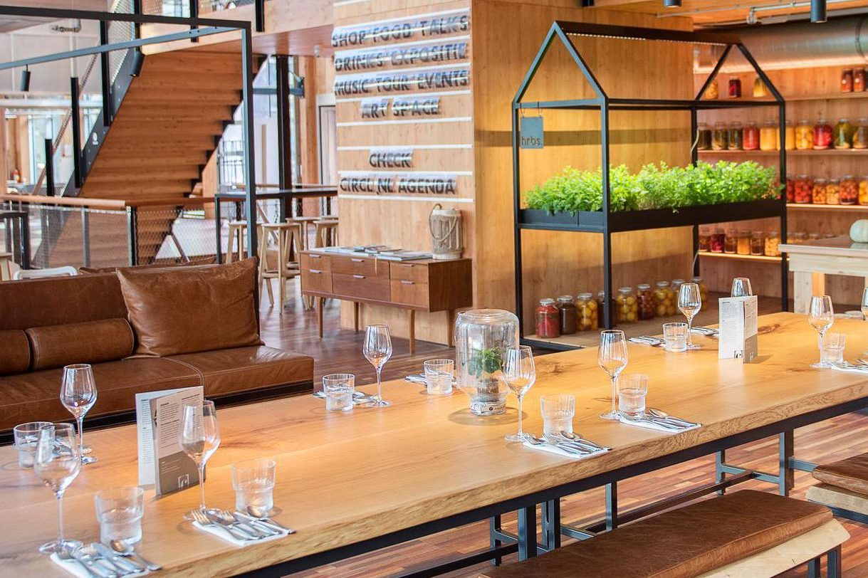 Hrbs-delivered plants growing in Hrbs designed furniture at 'Circl Restaurant' in Amsterdam.