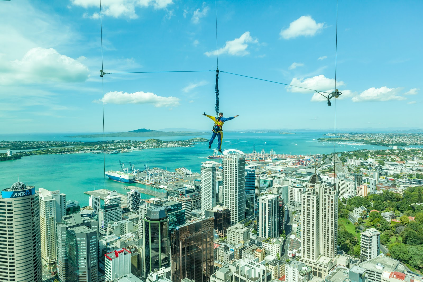 One of the many ways to view the Auckland skyline: jumping off the Skytower.