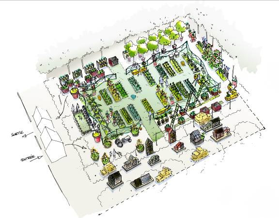 Watercolor drawing of a temporary, experimental urban farm located in the Jardin des Tuileries of Paris and conceptualized by Fermes de Gally in 2014.
