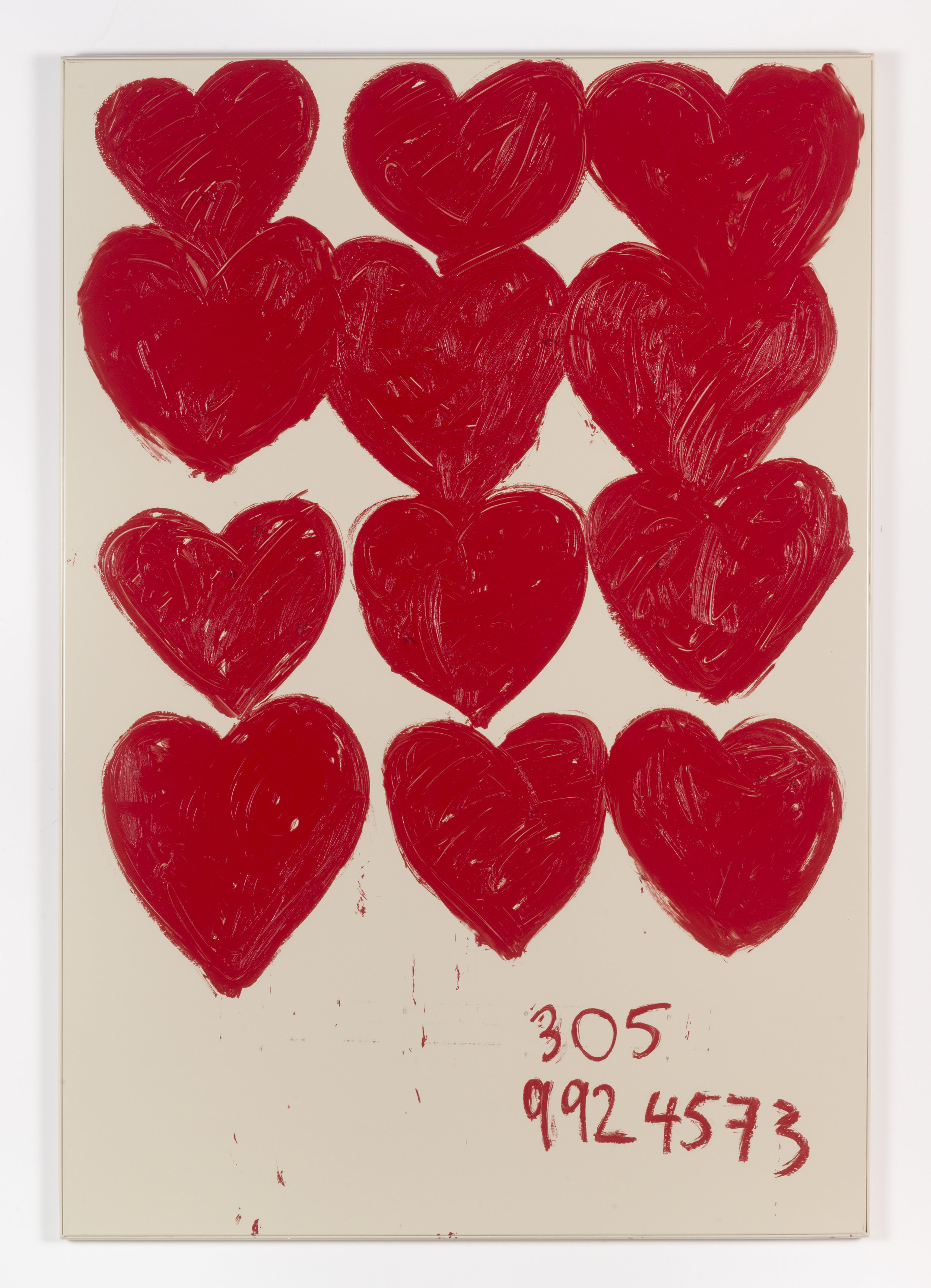 Jennifer Rubell,  Three Hearts Times Four , 2018, oil stick on bathroom partition, 58 x 40 inches